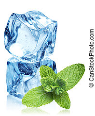 Ice cubes and mint leaves on a white
