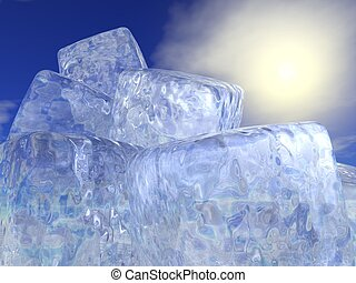 Ice cubes and sun - 3D render
