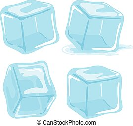Ice cubes and melted ice cube vector set on white...