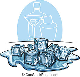 ice cubes melted in water