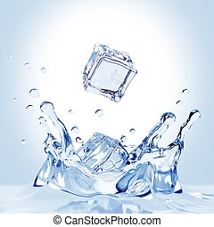 Ice Cubes Fall Into The Water