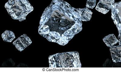 Ice cubes falling, 3D animation with alpha mask