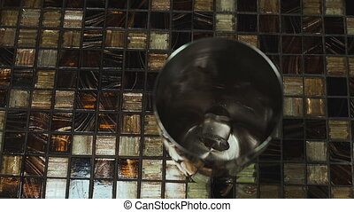Ice Cubes Falls in Metal Cup