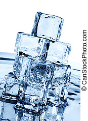 Ice cubes in blue hues