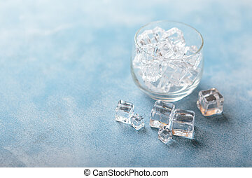 Ice cubes in glass