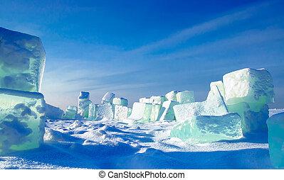 ice cubes in snow desert