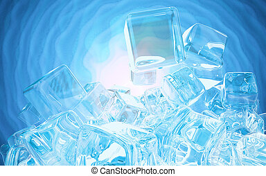Ice cubes isolated on blue background 3d illustration