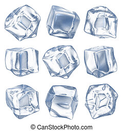 Ice cubes - isolated on white background