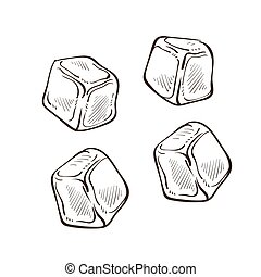 Ice cubes isolated sketches, cold pieces, cooling drinks ...
