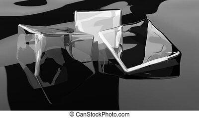 Ice cubes on alcohol Super Slow Motion Detail Shot