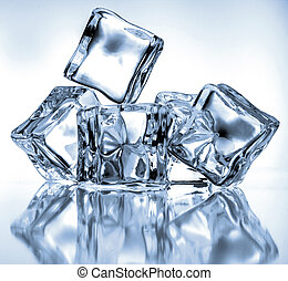 Ice cubes on blue background