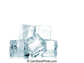 ice cubes over white background. - ice cubes on white...