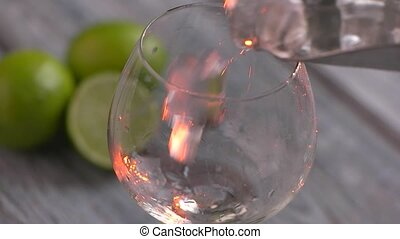 Ice cubes slowly falling. Scoop puts ice in wineglass....