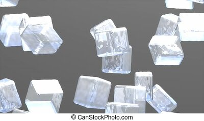 Ice cubes drop animation.
