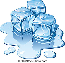 Ice cubes - Stylized ice cubes on white background. Vector...
