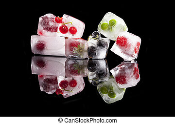 Ice cubes with fruit and vegetable.