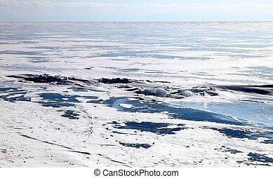 Frozen Lake Baikal - Ice dessert. Frozen Lake Baikal....