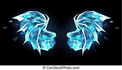 Ice dragon wings - Ice, polygonal, blue, transparent,...