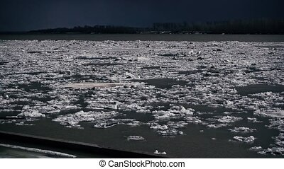 Ice drift on the river in Siberia