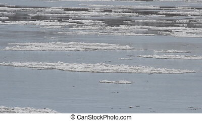 Ice drift. Russia, spring, a large
