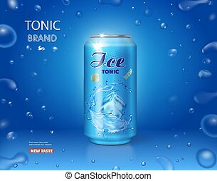 Ice drink metallic can. Tonic advertising on blue background 3d