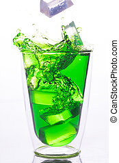 ice drop to glass of green water