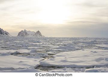 Ice field at sunset, Antarctica