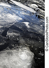 ice-field on the lake in winter