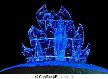 Ice fire sculpture over black background