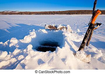 Hole for Ice-fishing through lake ice.