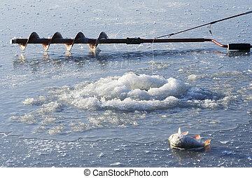 Ice fishing hole - Ice drill and ice fishing rod