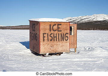 Ice fishing hut - This little shack is on skids and can be...