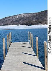 Ice fishing in sunshine at the lake