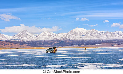 Ice Fishing . Lake Hovsgol . Mongolia