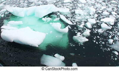 Ice floats on the ocean surface in the Antarctic.