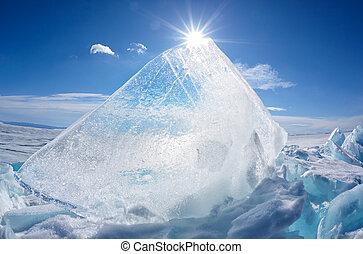 Ice floe and sun on winter Baikal lake - Ice floe and sun...