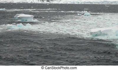Ice floe in ocean of Antarctica. - Icy desert of ocean in...