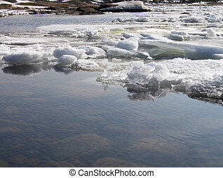 Ice floe in spring with reflections in the water.