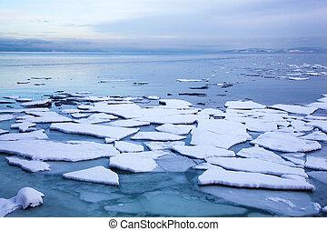 ice floe in winter Norway