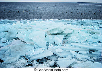 Massive stack of ice floe on the sea