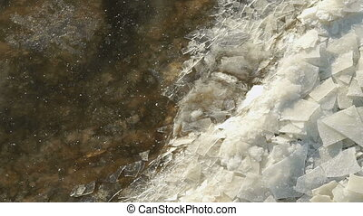 Ice floes float near shore. Warm undercurrents. - Small ice...