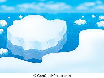 Ice floes in a polar sea - drifting ice floes in a polar sea