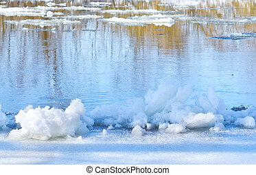 Ice floes on the bank of river in spring