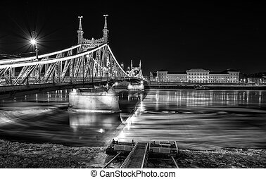 Ice flowing on river Danube in Budapest, Hungary