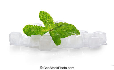 Ice for cocktail and the spearmint leaves, isolated on white