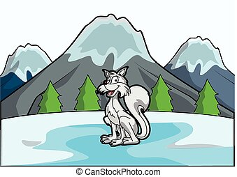 ice fox with ice mountain scene