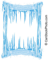 Ice Frame with icicles snowflakes