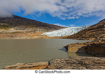 ice front of Svartisen glacier and Austerdalsvatnet