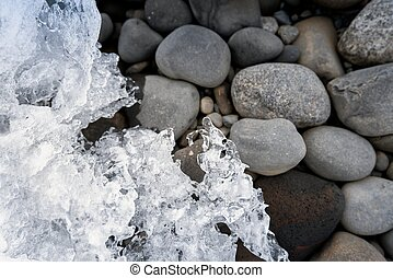 Ice frozen into stones