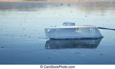 ice frozen water on the river ice break debris beautiful nature winter landscape